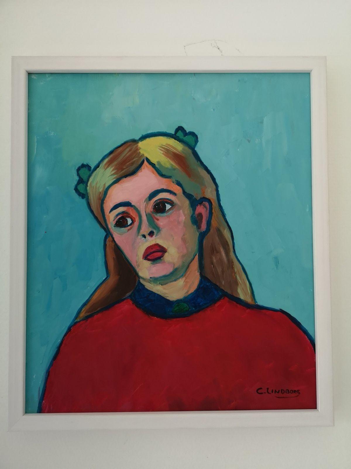 Ung kvinna, oljemålning.