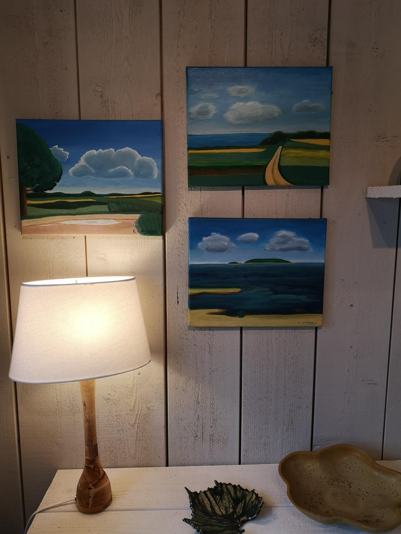 Tre oljemålningar från Bjärehalvön